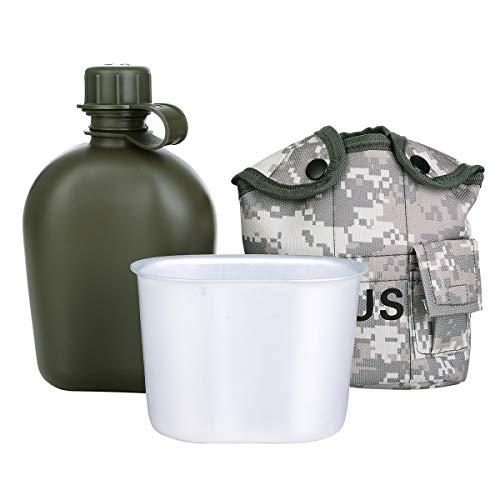 SHINYEVER Borraccia Militare,Portatile Bottiglia d'Acqua in Acciaio Inox Mensa con Coppa Borsa Verde Sport Esterno di Escursione di Campeggio di Viaggio