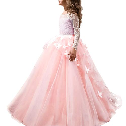 IBTOM CASTLE Festliches Mädchen Kleid Pinzessin Kostüm Lange Brautjungfern Kleider Hochzeit Party Festzug #11 Schmetterling und Weiß 12-13 Jahre