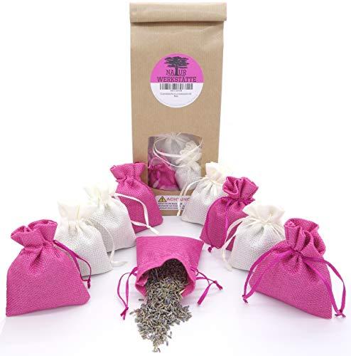 12 Lavendelsäckchen mit 120g getrockneten Lavendelblüten aus französischer Provence, Duftsäckchen zum Einschlafen, Duftsäckchen gegen Motten für Kleiderschrank, Lavendelbeutel, Weiss- Rosa -
