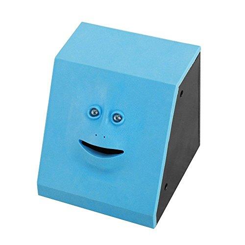 Caja de ahorro de cara automática para máquina de monedas, caja de depósito eléctrica, dinero que interesa el dinero, bonito regalo, color azul