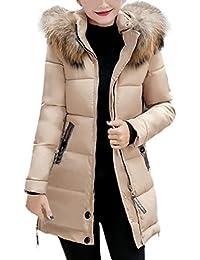 Daunenjacke Damen, DoraMe Frauen Winter Warm Parka Outwear Kapuze  Runter-gepolsterte Jacke Slim Mantel Dick Daunenjacke(Bitte… f6430d5045