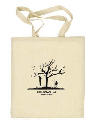Shirtstreet24, Life Has Two Sides Always, Beige Tessuto sacchetto di iuta borsa (taglia unica), Beige (Crema), taglia unica