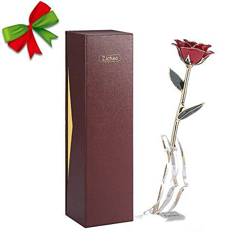 zjchao 24 Karat vergoldet Echte Rose im Geschenk-Kasten mit Standplatz, konservierte Blume (Rot) Vergoldete Rose