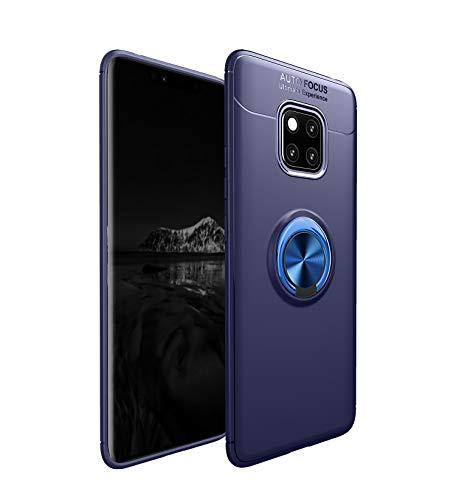 Preisvergleich Produktbild Homikon Hülle TPU Silikon Hülle Mit Magnetischer 360 °Verdrehbare Ring Weiche Handyhülle Ultra dünne Legierung Anti-Scratch Schutzhülle Case Cover Tasche für Huawei Mate 20 Pro - Blau