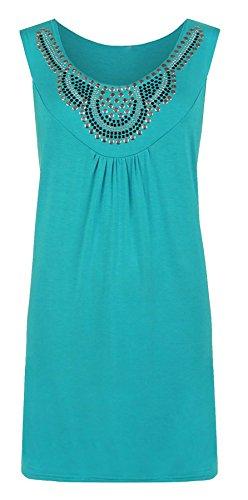 Islander Fashions Femmes Sans Manches Stud Perl�e Gilet Top Dames Stretch Fantaisie Parti Tunique Top UK 14-28 Turquoise