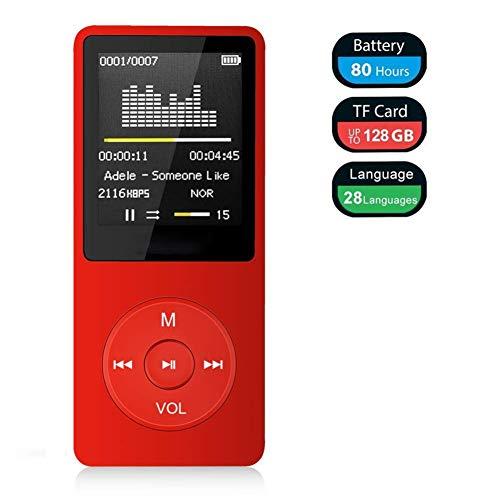 MP3-Player, HiFi-Musik-Player mit Kopfhörern, 50 Stunden Wiedergabezeit, 1,8-Zoll-Bildschirm Lossless Klangqualität, Unterstützung für Radio-Aufnahme E-Buch Bilder, Maximum 128 GB TF-Karte,Rot,16GB -
