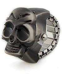 Reloj de Anillo Metal Forma Calavera Color Plata Antigua