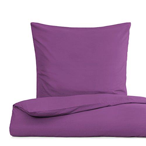 Lumaland Premium Bettwäsche Everyday Ganzjahres Bettbezug mit YKK Reißverschluss 155x220cm & Kissenbezug 80x80cm Lila