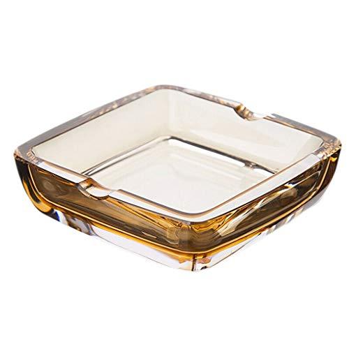 Kreative Persönlichkeit Büro Hotel Wohnzimmer Platz Aschenbecher Kristallglas Aschenbecher Dekoration Geschenk Tragbare Aschenbecher (Color : Amber, Größe : 10.7 * 9.2cm) -