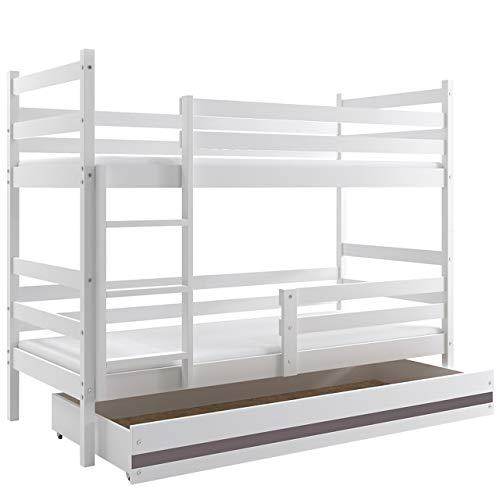 Mirjan24  Etagenbett Eryk Hochbett inkl. Schubladen, Doppelbett mit Lattenrost, Bettrahmen aus Kiefernholz, Farbauswahl, Kinderzimmer (Weiß/Weiß + Graphit, 90 x 200 cm)