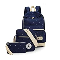 Canvas dot three pieces sets packbag fashion shoulder bag school bag junior SB06 blue