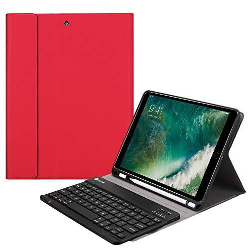Hülle für iPad 9.7 2018, Soft TPU Rückseite Abdeckung Keyboard Case mit eingebautem Apple Pencil Halter und magnetisch Abnehmbarer Drahtloser Bluetooth Tastatur, Rot ()