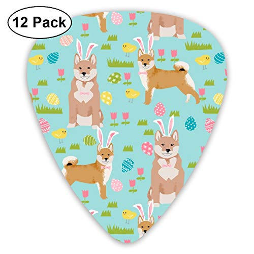 Shiba Inu Spring Easter Eggs Bunny Dog Breed Mint Classic Celluloid Picks, 12-Pack, For Electric Guitar, Acoustic Guitar, Mandolin, And Bass