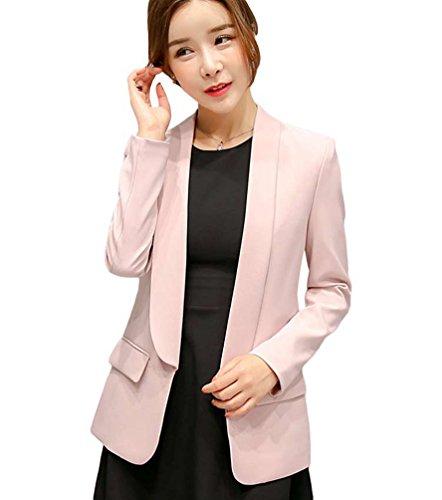 YiLianDa Mujeres Chaquetas de Traje Elegante Manga Larga Oficina Negocios Cardigan Slim Fit Jacket Outwear Rosa XL