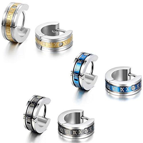 JewelryWe Schmuck Herren Ohrringe, Edelstahl, Römischen Ziffern Creolen Ohrstecker, Blau Schwarz Gold Silber