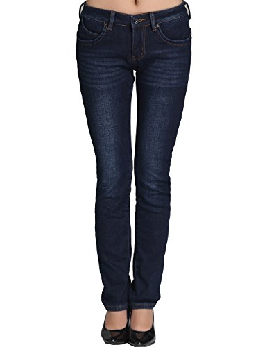 Camii Mia Damen Jeanshose Slim Fit Jeans Fleece Gefürttert Winter Denim Hose Trousers (W26, Blau 4)