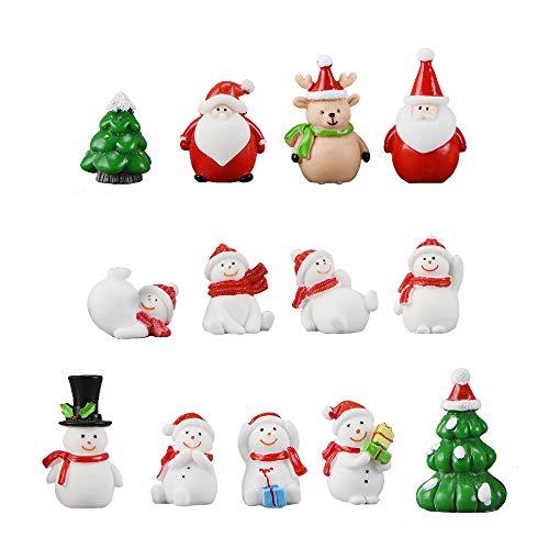 13 Stück Harz Miniatur Garten Figuren Weihnachten Mini Ornamente Set für Fee Garten Deko Weihnachtsdeko Bonsai Puppenhaus Zuhause Tisch Dekoration Landschaft DIY Zubehör Schneemann Weihnachtsmann Baum