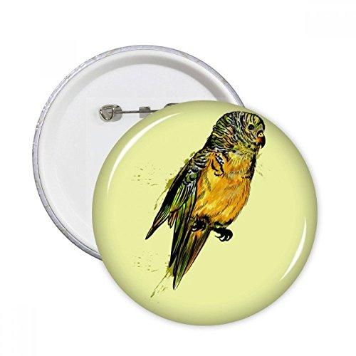 Gelb Wellensittich Papagei Vogel rund Pins Badge Button Kleidung Dekoration 5x Geschenk S mehrfarbig -