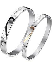 JewelryWe Bijoux Bracelet Pendentif Collier Bague Set Ensemble Love Cadeau Saint Valentin(Envoyez un email pour nous informer les tailles des bagues homme et femme)