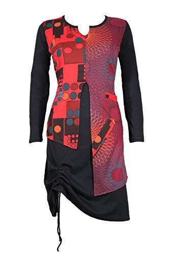 garderobe goa Ausgefallenes Freizeit Kleid im Lagenlook mit bunten Ethno-Muster - Casual Chic - 100% Baumwolle - OSHIN (S/M)
