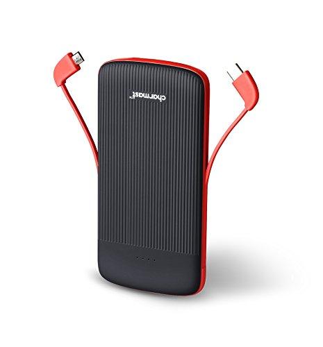 10000mah caricatore portatile batteria esterna power bank con costruito dentro type c & micro usb cavo per iphone samsung huawei android telefono cellulare (nero)