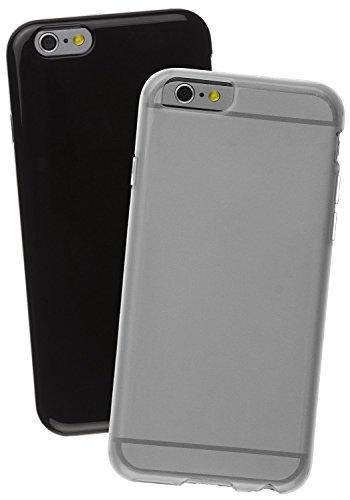 Caseit Flexi TPU Schutzhülle Case Cover im Doppelpack für iPhone 6/6S - Transparent und Lila (2er Pack) Transparent/Schwarz