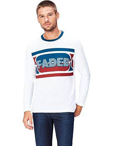Find maglia a manica lunga con stampa uomo, bianco (white 001), medium