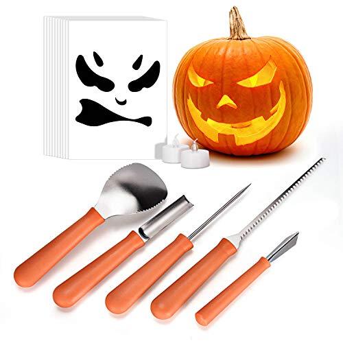 (iTrunk Halloween Kürbis Schnitzset, 5 Stück Professionelle Edelstahl Kürbis Schnitzwerkzeuge mit 2 LED Kerzenleuchtern, Premium Modellierwerkzeuge mit 10 Schnitz-Schablonen)