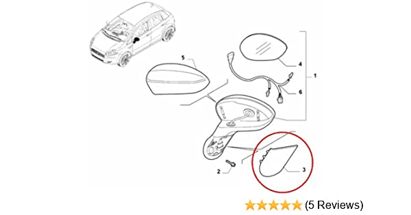 FIAT 500 MIRROR ARM COVER STEM CAP DRIVERS SIDE GENUINE FIAT