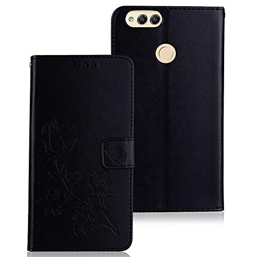 WIWJ Hülle Kompatibel mit Huawei Honor 7X,Premium Tasche Cover Handyhülle[Rose geprägtes Lederetui]Brieftasche Flip Case Lederhülle Schutzhülle Handyhüllen für Huawei Honor 7X-Schwarz