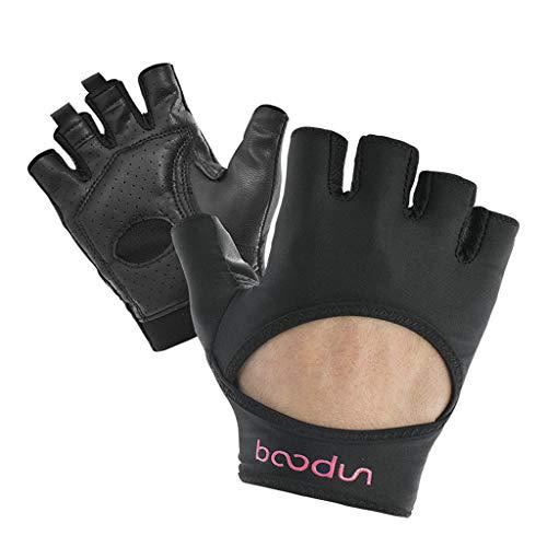 XJRHB Fitness im Freien Sport Reiten Rutschfeste Yoga-Handschuhe (Farbe : SCHWARZ, größe : L)