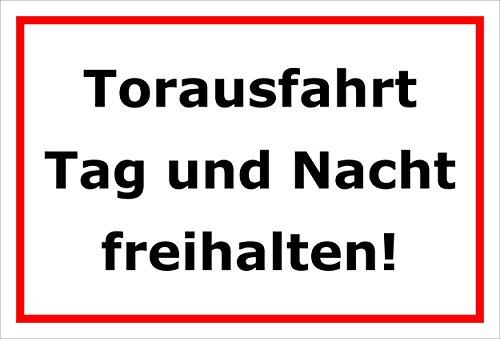Schild - Torausfahrt - Tag und Nacht freihalten - 15x20cm, 30x20cm und 45x30cm - Bohrlöcher Aufkleber Hartschaum Aluverbund -S00221B