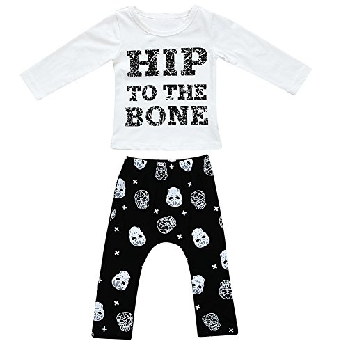 Domybest 2 stücke Kinder Kleidung Set Baumwolle LetterPrint T-shirt + Schädel Köpfe Harem Pants100 (Schädel Bio-baumwoll-t-shirt)