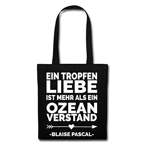 Spreadshirt Valentinstag Ein Tropfen Liebe Zitat Blaise Pascal Stoffbeutel Schwarz