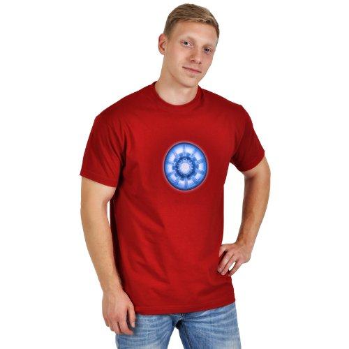 Iron Man - T shirt stampa con motivo del reattore - Maglia con stampa - Girocollo - Rosso - L
