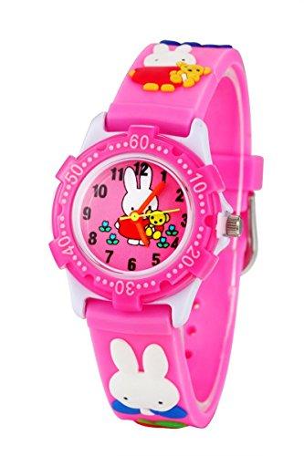Silikon Kinderuhr 3D Cute Cartoon Digital Uhr Wasserdicht Lehruhr Geschenk für Kleine Mädchen Jungen Kids Kinder Umweltfreundlich Silikon Armbanduhr (Pink Hase)