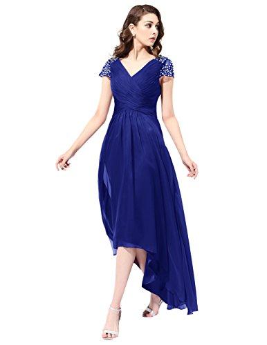 Dresstells Robe de demoiselle d'honneur Robe de cérémonie longue col en V asymétrique Bleu Saphir