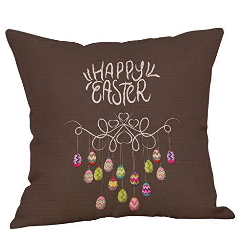 JMETRIC_Kissenbezug Ostern Leinen Kissen Kissenbezug Niedlichen Kaninchen Schlafzimmer Wohnzimmer Dekoration Dekokissen(C)