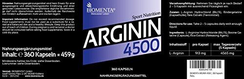 BIOMENTA L-ARGININ 4500 | EINFÜHRUNGSPREIS!!! | 360 Stück hochwertige L Arginin Kapseln HOCHDOSIERT