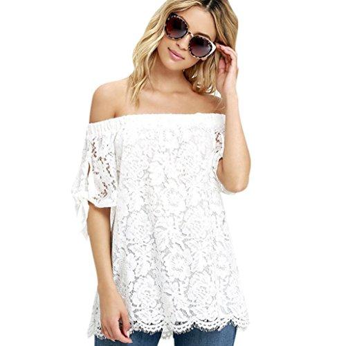 Sunnywill Mode Frauen Spitze Schulter Casual Shirt Sommer Tops Bluse T-Shirt für Mädchen Damen (70er Jahre Online Kleidung)