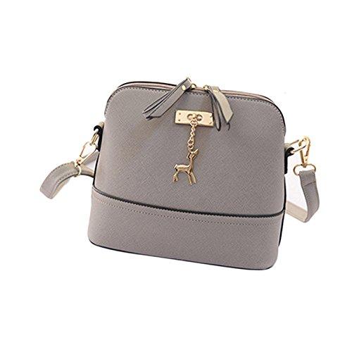 Schultertaschen Tasche Damen, Sunday Neue Frauen Messenger Bags Vintage Kleine Shell Leder Handtasche Casual PU-Leder Bag Outdoor Party (Grau) (Italienische Leder-schlüssel-etui)