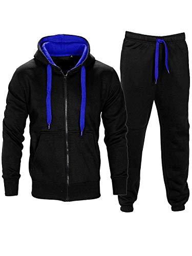 Homme Contraste Corde Sweat à Capuche Pantalon Gym Survêtement  - Noir/Bleu - S