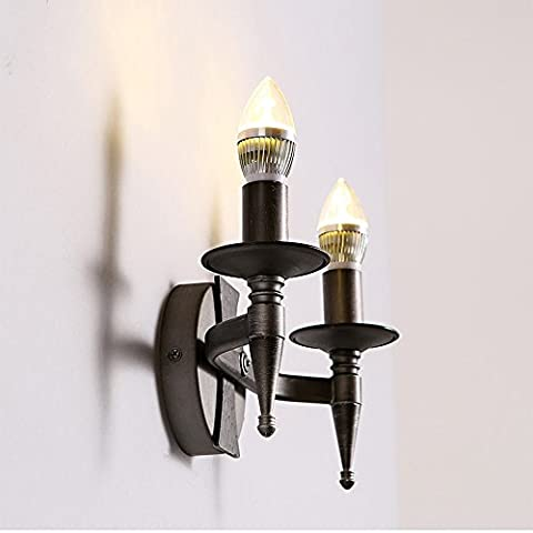 LOFT American Retro Industrie Doppel-Kopf Wand Lampe Designer Einfache Metall Kerze Halter Ecke Resonant Wandleuchte Wohnzimmer Schlafzimmer Hochwertige Dekoration