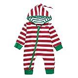Riou Weihnachten Set Baby Kleidung Pullover Pyjama Outfits Set Familie Infant Baby Jungen Mädchen Jungen Weihnachten Xmas gestreiften Kapuzenspielanzug Jumpsuit Outfit (100, Rot)