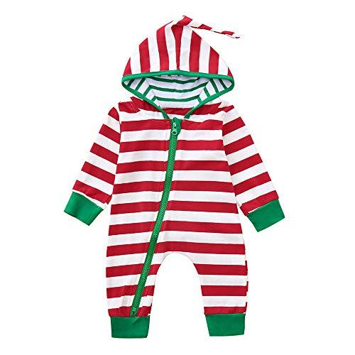 Riou Weihnachten Set Baby Kleidung Pullover Pyjama Outfits Set Familie Infant Baby Jungen Mädchen Jungen Weihnachten Xmas gestreiften Kapuzenspielanzug Jumpsuit Outfit (90, Rot)