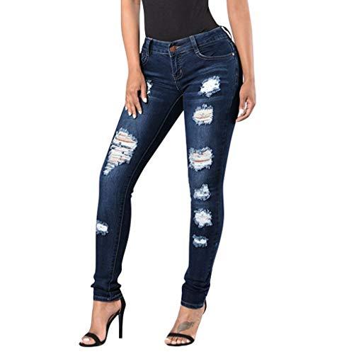 TPulling Damen Jeans Skinny  Slim Fit Stretch Stylische Boyfriend Jeans Zerrissene Destroyed Jeans Hose mit Löchern Lässig