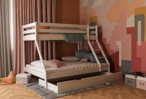 Etagenbett für Kinder mit Bettkasten, Stockbett für Erwachsene, Doppelstockbett mit Schubladen 140x200 und 90x200 inkl. Lattenrost und Absturzsicherung (Weiß, Mit Bettkasten)