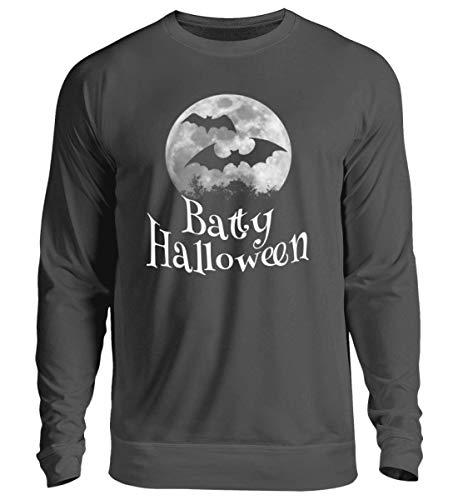 Shirtee Batty Happy Halloween - Gruselige Fledermäuse vor Stylischem Vollmond an Samhain - Unisex Pullover