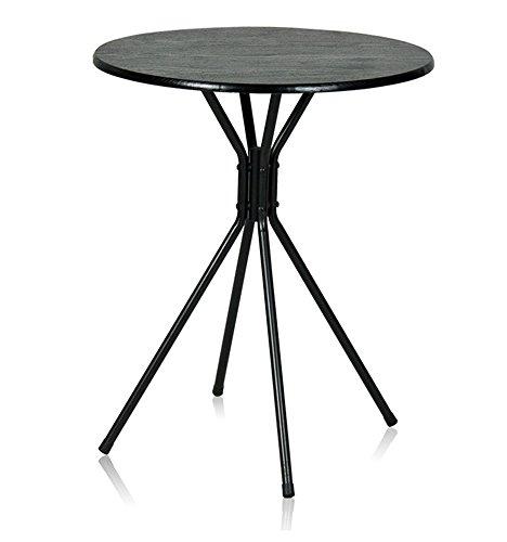 Full Love House® Table d'appoint Table basse Pliable Rond Simple et moderne PVC + métal Noir Métal jambes fines (Φ) 60cm * (h) 70cm