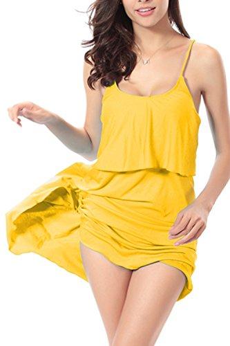 Frauen Sexy Neckholder Fake 2 Stücke Swing Strandkleid Yellow
